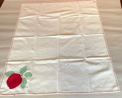 "Vintage Hand Embroidered & Applique Red Apple Small Tablecloth~36"" X 30"""
