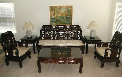 (6)- Piece Chinese Hand Carved Rosewood Grand Imperial Elephant Living Room Set