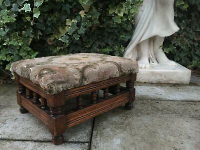 Antique English Upholstered Footstool Oak Small Antique Wooden Stool