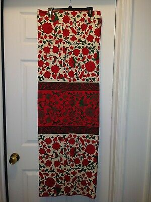 """VTG Vera Neumann Tablecloth Red White Green Floral Holiday Christmas 52"""" x 48"""""""