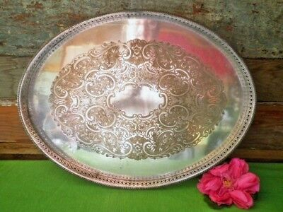 Vintage Silver Plated Tray Oval Etched Pierced Gallery Quality Drinks Tray