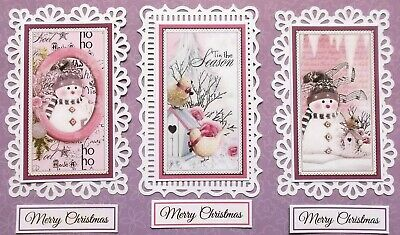 Trio Christmas Card Topper Set = 3 White Toppers, 3 Xmas Toppers, 3 Sentiments