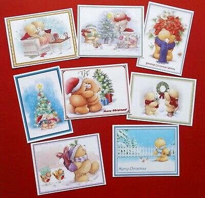 Cute Christmas Bear Card Toppers X 8 Nicely Framed For Beautiful Cards