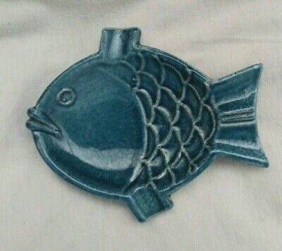 Vintage ITALY Blue ceramic FISH Ashtray modernist trinket dish Italy MCM retro