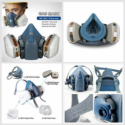 3M 7502 7 Piece Suit Half Face Respirator Painting Spraying Face Dust Gas KH