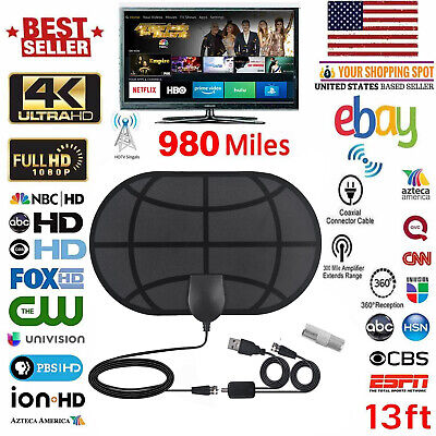 [980 Miles]Clear Indoor Digital TV HDTV Antenna[2019 Latest] UHF/VHF/1080p 4K FA
