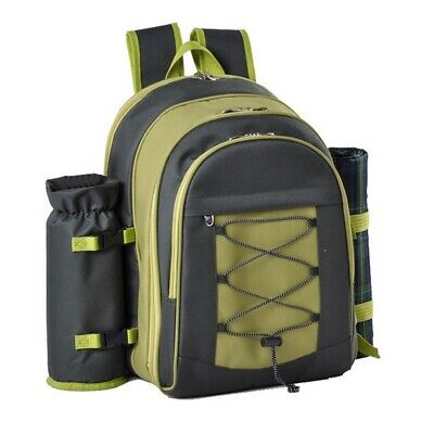 New Confidence Picnic Backpack Hamper Green Inc Plates, Cutlery
