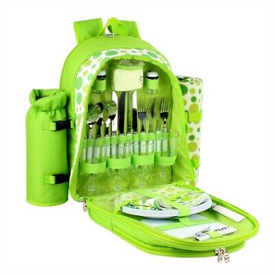 New Confidence Picnic Backpack Hamper Bright Green Polkadots Inc Plates, Cutlery