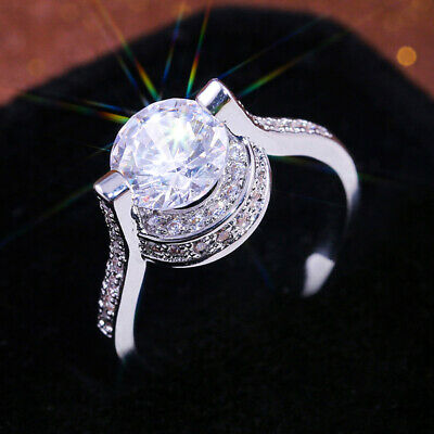 Gorgeous 925 Silver Wedding Rings for Women Round Cut White Sapphire Size 6-10