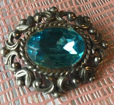 Antique Art Deco Brilliant blue austrian crystal Silver pot metal oval Brooch