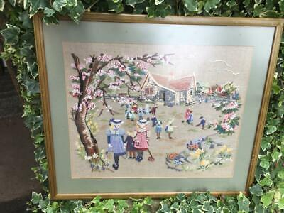 Framed Cross Stitch Picture Victorian Children Playing School House Playground