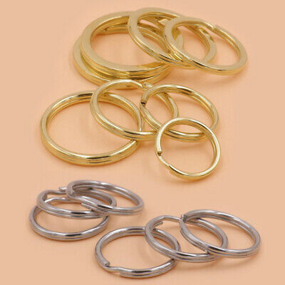 10X 10-38mm Brass Stainless Steel Split Rings Double Loop Key Ring Leather Craft