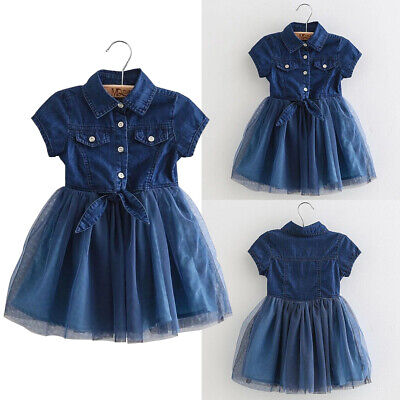 Toddler Kids Baby Girls Clothes Short Sleeve Denim Mesh Dress Party Princess AU