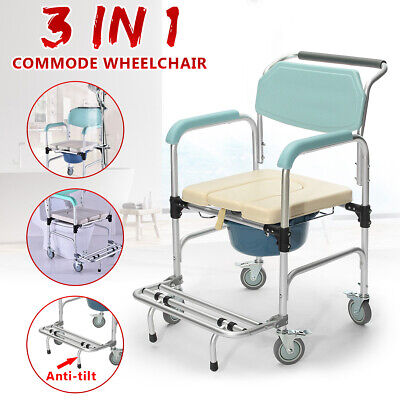 🔥 3-in-1 Commode Wheelchair Bedside Toilet & Shower Seat Bathroom Rolling Chair