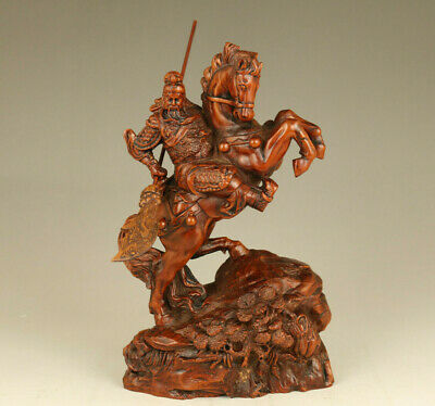 old boxwood hand carved guan gong hero on horse statue netsuke home decoration