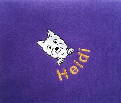 Dog Blanket, West Highland White Terrier, Personalised with Name