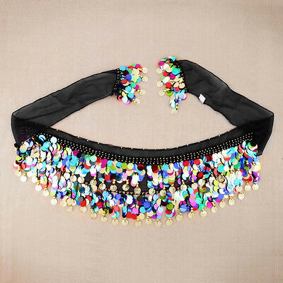 Dancing Coin Chain Sequin Belly Dance Hip Skirt Scarf Wrap Belt Waistband l4