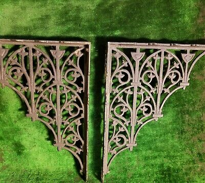 Vintage Ornate Black Cast Iron Decor, Corner Or Shelf Brackets