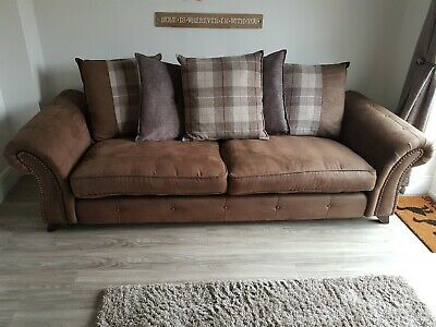 Dfs Brown Fabric Sofa 4 Seater 3 And Arm Chair