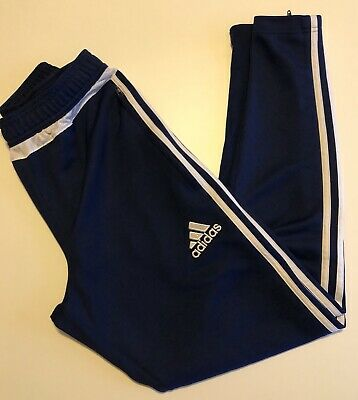 Adidas Small Navy Blue Pants Athletic Exercise Training Run Zippers Pockets