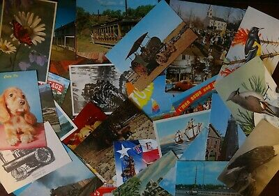 LOT OF 50 + CHROME VINTAGE POSTCARDS ,UNUSED , NO STAMPS ** 1950s ,1960s ,1970s