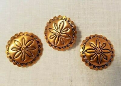"3 Copper Concho Shank Buttons - 1"" Across"