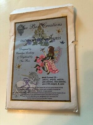 "Sue Box Creations ""Enchanted Fairy Treasures"" Embroidery CD Unicorn Castle Frog"