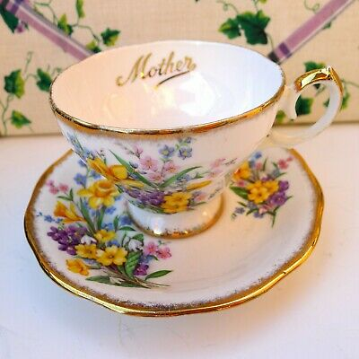 Queen Anne Daffodil Bouquet Teacup and Saucer Set Bone China England for Mother