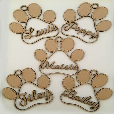 Dog Paw Shaped Baubles - Personalised Names - Christmas Tree Decoration - Gifts