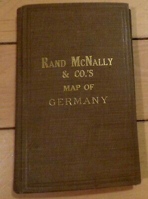 1912 Rand McNally German Empire Pocket Map Cloth Hard Cover with Index 2 Maps