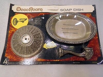 NOS Antique Vintage Silver Metal Soap Sink Wall Holder Bath Tub Shower Caddy
