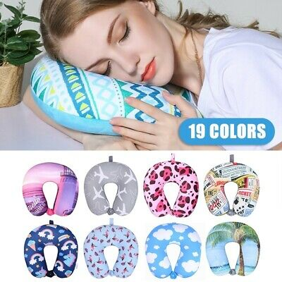 U Shaped Travel Neck Pillow Headrest Support Cushion Car Airplane Office Printed