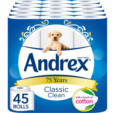 Andrex Classic Clean Toilet Tissue, 45 Toilet Rolls