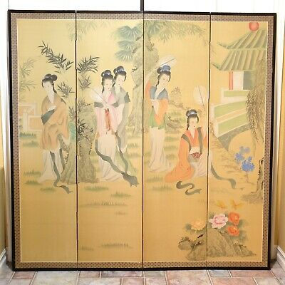 "Vintage/Antique 4 Maidens Shoji Painted Silk 4 Panel Divider Screen 73""x72"""