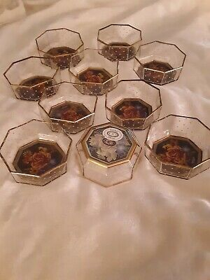 "MacKenzie Childs 4.5"" octagonal glass bowls.   A set of 10. Hard to find. Lovely"
