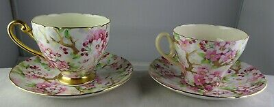 2 Shelley China Maytime Pattern Cup & Saucer Sets – One Flat & One Footed