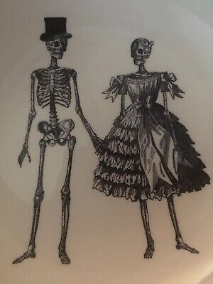 """ROYAL STAFFORD HALLOWEEN 4 Salad Soup Bowls Victorian Skeleton """"Out on the Town"""""""