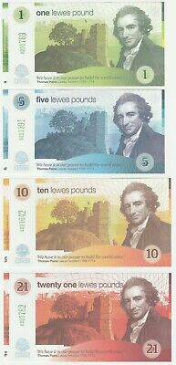 United Kingdom  Lewes 1 5 10 21 Pound 2009 UNC Local Currency Banknote Set 4 pcs