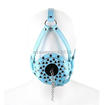 Blue Open Mouth Gag PU Leather Reatraints Head straps Harness Mask Face Roleplay