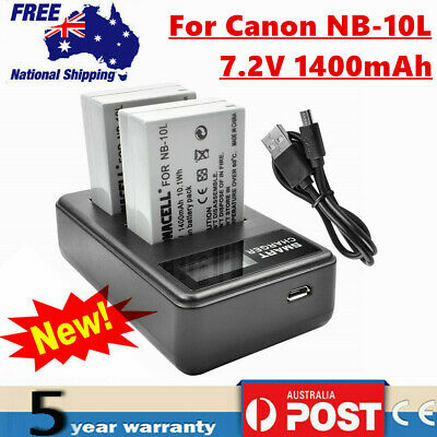 2× NB-10L Battery/LCD Charger For Canon Powershot  G1 G3 X, SX40 SX50 SX60 HS UB