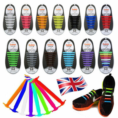 No Tie Rubber Shoe Laces Colored Easy Shoe Laces Trainers Snickers Kids + Adults