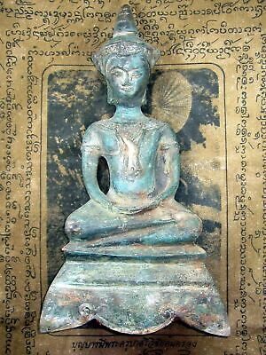 So Rare! Big Ancient Phra Chai-Sam-Kha Ayutaya Era Years Ago Thai Buddha Amulets