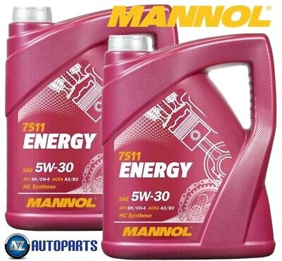 2x Mannol - Energy 5W30 Car Engine Oil SL/CF ACEA A3/B3 Fully Synthetic 5L = 10L