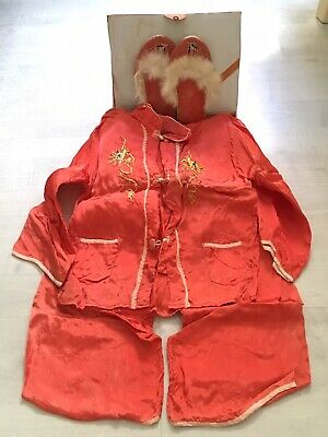 FAB Set Vintage 1940s 50s Chinese Children's Child's Pyjama Set + Slippers