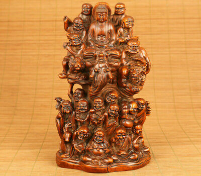 big rare Chinese old boxwood hand carved 18 arhat buddhas statue figure
