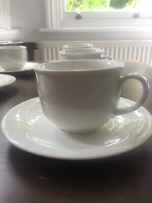 Set of six White Modern Coffee Tea Cups Saucers Fine China Villeroy Boch Heal's