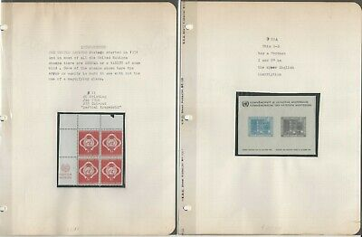 United Nations Stamp Collection, Error & Variety Lot on 8 Pages, JFZ