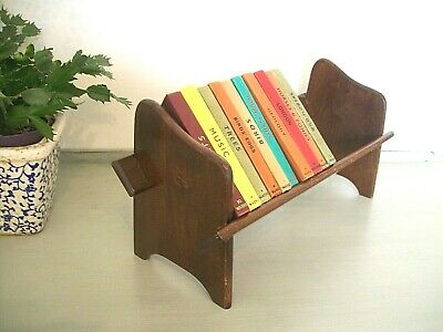 Antique Solid Oak Book Trough Stand, Vintage Wooden Display Shelf Rack,Book Ends