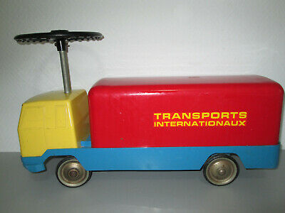 Kiddicraft Rutscherauto LKW Transports Internationaux 60er/70er Jahre France