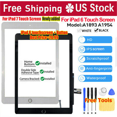 For iPad 6 6th 2018 A1893 A1954 Digitizer Touch Screen Replacement + Home Button